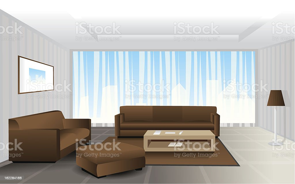 Room with big window. royalty-free stock vector art