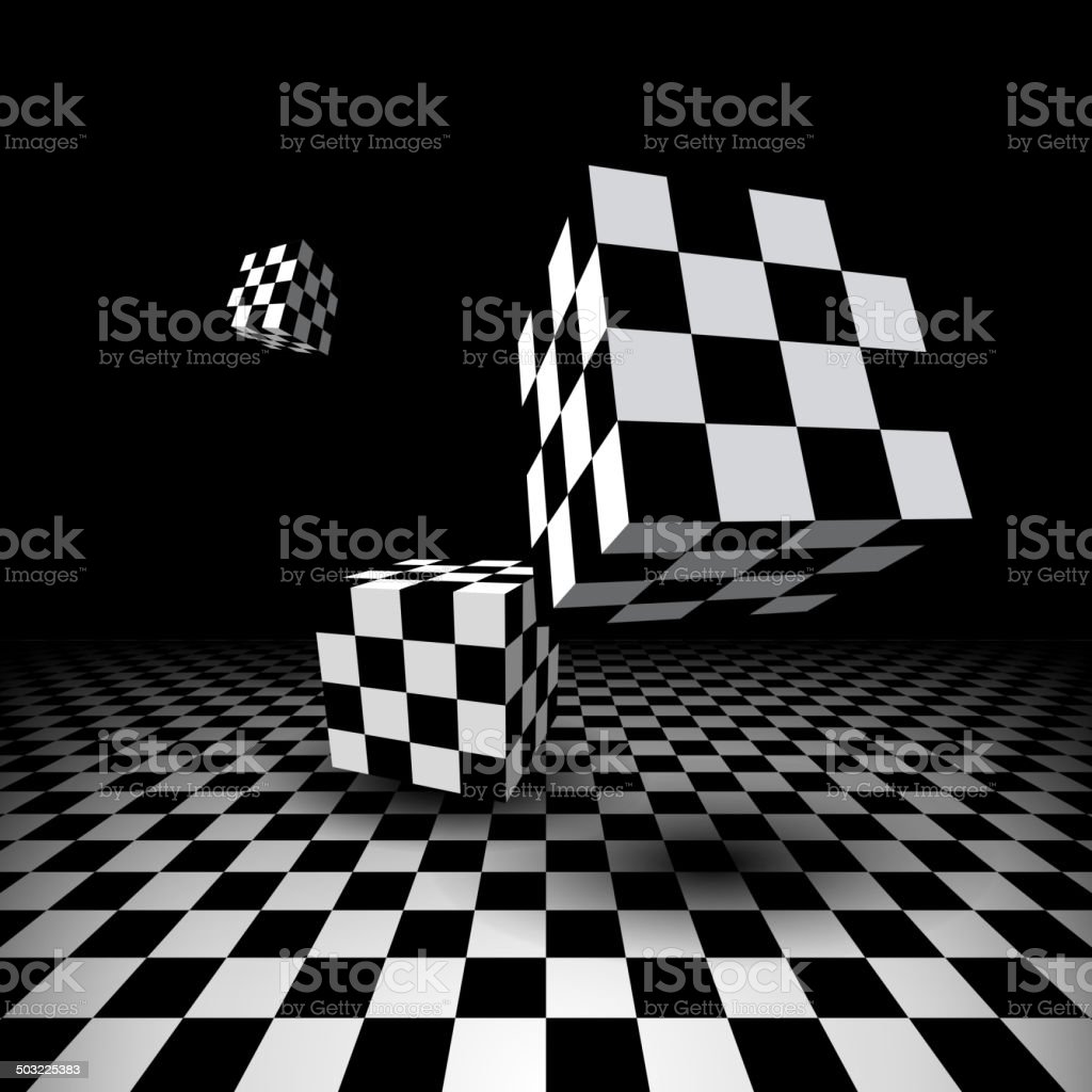 Room with checkered cubes vector art illustration