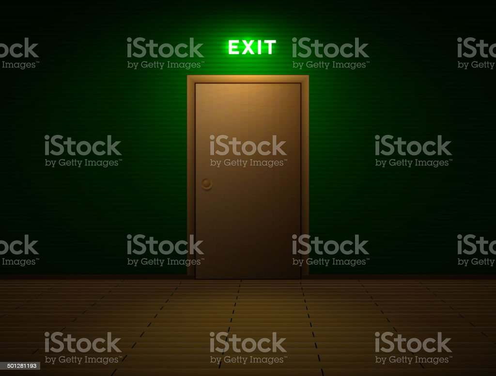 Room with exit sign vector art illustration
