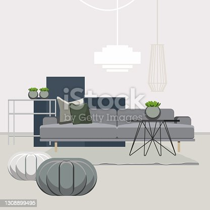 Room with furniture. Flat style vector illustration.