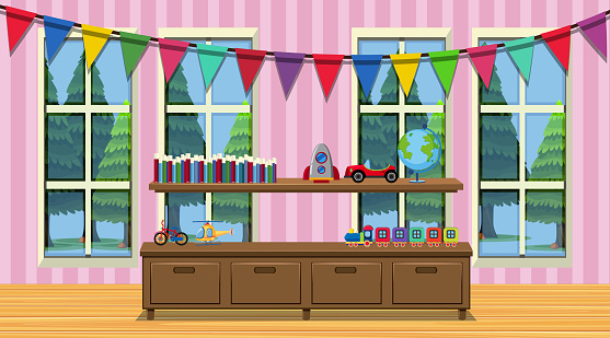 Room with wooden cabinet and many toys