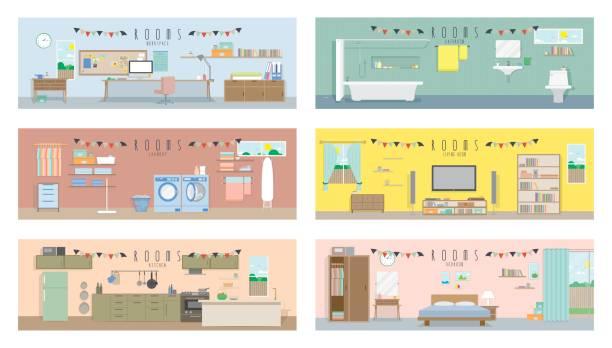 zimmer interieur, wohnen, schlafzimmer, küche, bad, waschküche, arbeitsbereich, set sammlung abbildung vektor. zimmer-innenraum-konzept. - waschküchendekorationen stock-grafiken, -clipart, -cartoons und -symbole
