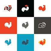 Rooster and cock. Flat design style vector illustrations set