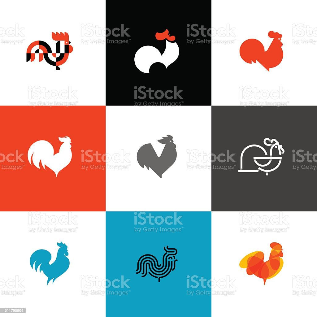Rooster and cock. Flat design style vector illustrations set vector art illustration