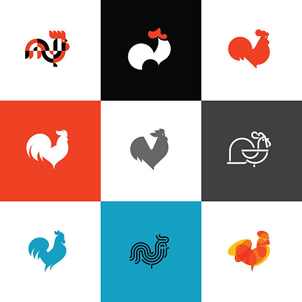 Rooster and cock. Flat design style vector illustrations set Rooster and cock. Flat design style vector illustrations set of icons and design elements rooster stock illustrations
