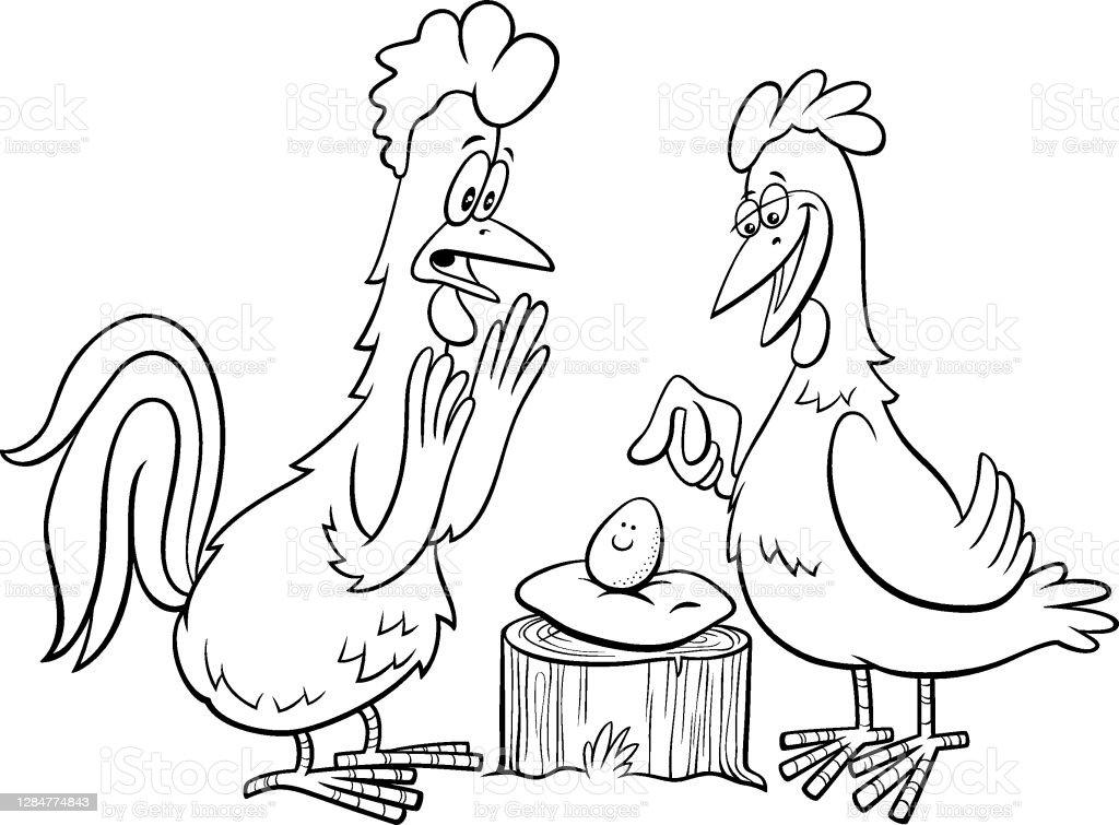 Ayam Jantan Dan Ayam Dengan Halaman Buku Mewarnai Kartun Telur Ilustrasi Stok Unduh Gambar Sekarang Istock