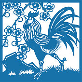 Rooster and plum(China paper-cut patterns)