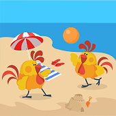 Rooster birds on the beach. Cock play volleyball at the seaside. Chinese calendar zodiac cock horoscope. Chicken character collection in flat. New year xmas greeting card. Vector illustration