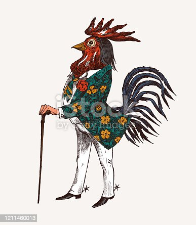 A rooster with a cane and boots. Fashionable Aristocrat or Rich Man. Hand drawn fashionable cockerel. Engraved old monochrome sketch