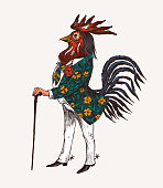 istock Rooster character with a cane and boots. Fashionable Aristocrat or Rich Man. Hand drawn fashionable cockerel. Engraved old monochrome sketch 1211460013