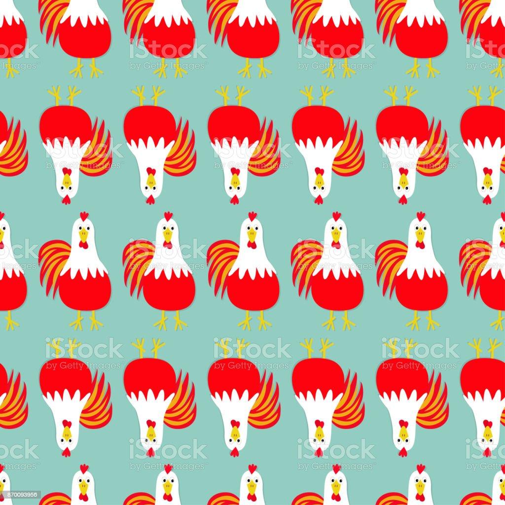 Oiseau de coq coq ligne de mod le sans couture 2017 happy new year symbole chinois calendrier - Calendrier chinois bebe 2017 ...