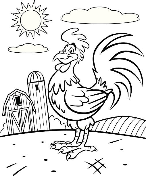 Rooster Coloring Book Page vector art illustration