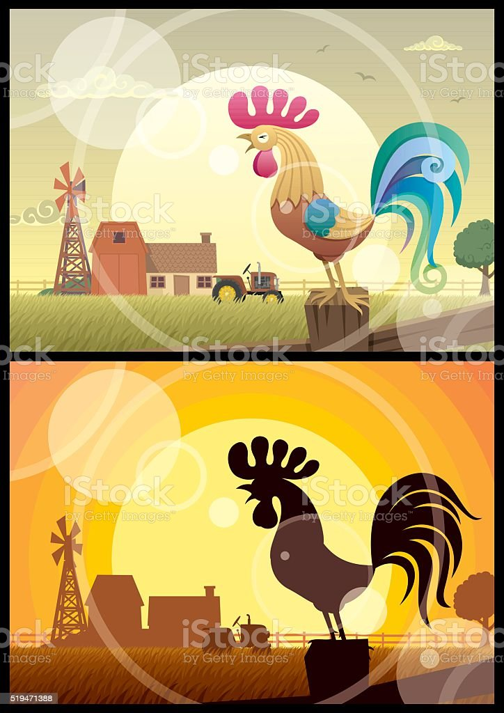 Rooster Crowing vector art illustration