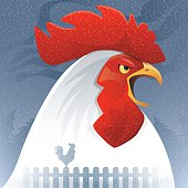 vector illustration of rooster crowing…