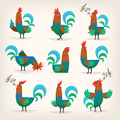 Rooster character from many fairy tales for children. Male chicken in different poses for greeting cards or posters in child's room