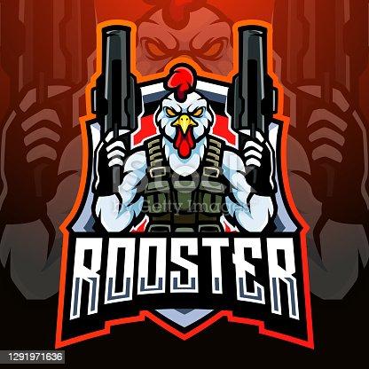 Rooster gunners mascot. esport logo design
