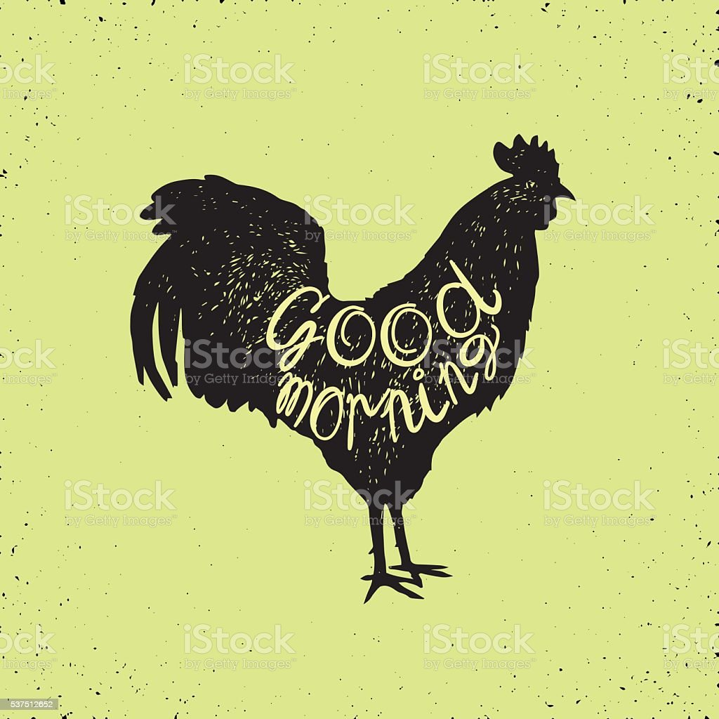 rooster hand drawn vector art illustration