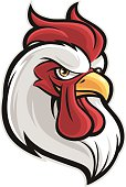 A cartoon of a rooster head