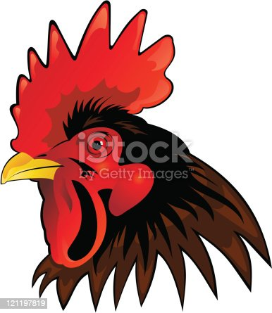 Rooster Head Vector Stock Vector Art & More Images of Anger ...