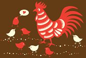 Vector illustration of a Rooster and with little chickens. Happy Dad's Day!