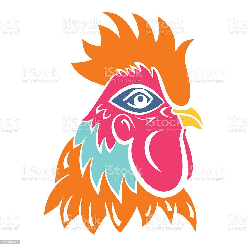 Rooster Logo Mascot Isolated Rooster Head Vector Illustration Stock
