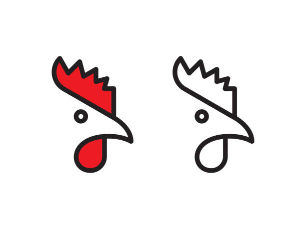 Rooster logo Vector line logo. Vector EPS 10, HD JPEG 4000 x 3000 px rooster stock illustrations