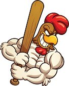 Baseball rooster mascot. Vector clip art illustration with simple gradients. All in a single layer.