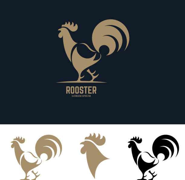 rooster silhouette illustration. rooster silhouette. Design element for label, emblem, sign, badge. Vector illustration. rooster stock illustrations