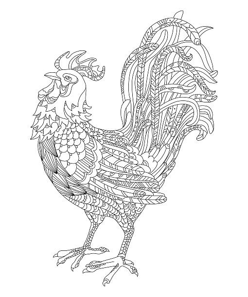 rooster, symbol of the year 2017. Adult antistress coloring page black and white vector illustration of a rooster, symbol of the year 2017. Page coloring for adults, animal markings stock illustrations