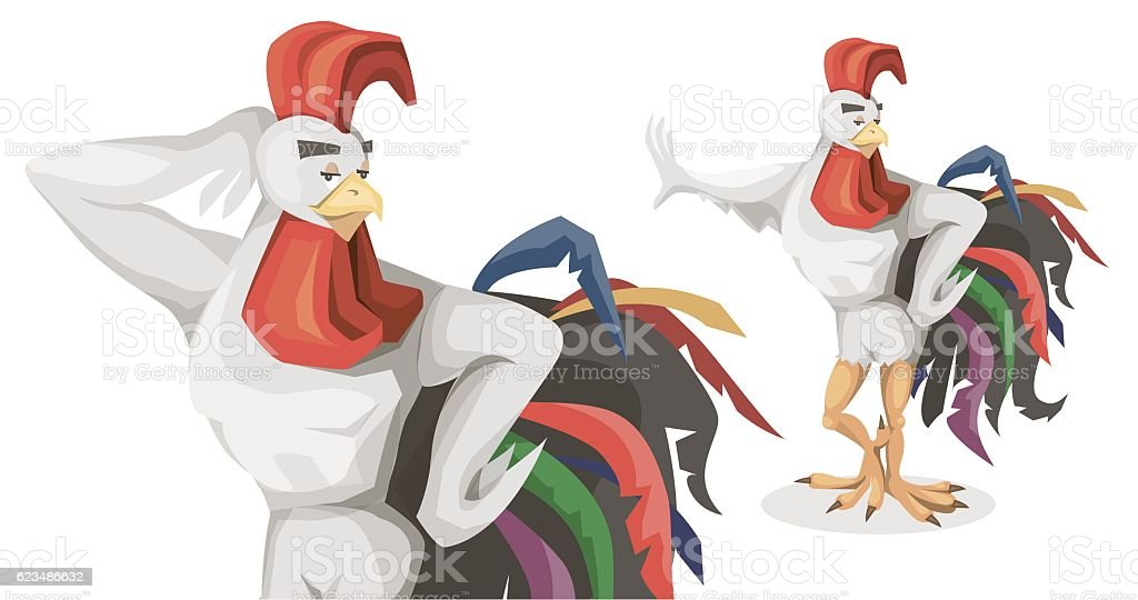 Rooster the symbol of the new year vector art illustration