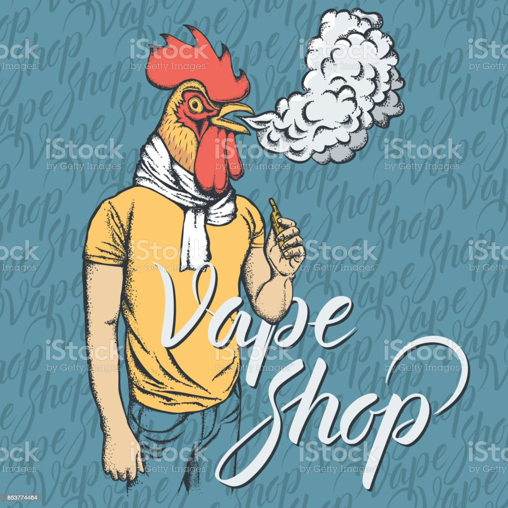 Rooster vaping an electronic cigarette vector art illustration