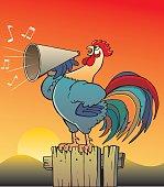 Illustration of rooster singing...