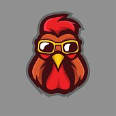 Rooster wearing glasses mascot logo design vector with modern illustration concept style for badge, emblem and t shirt printing