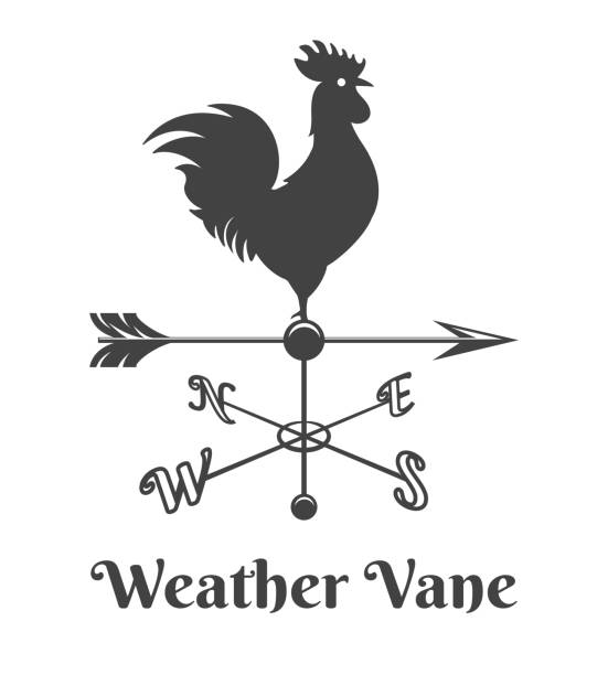 Rooster weather retro vane Rooster weather vane. Retro house rooster sign, old design weathercock arrow with chicken, vector wind vane direction illustration isolated on white background weather vane stock illustrations