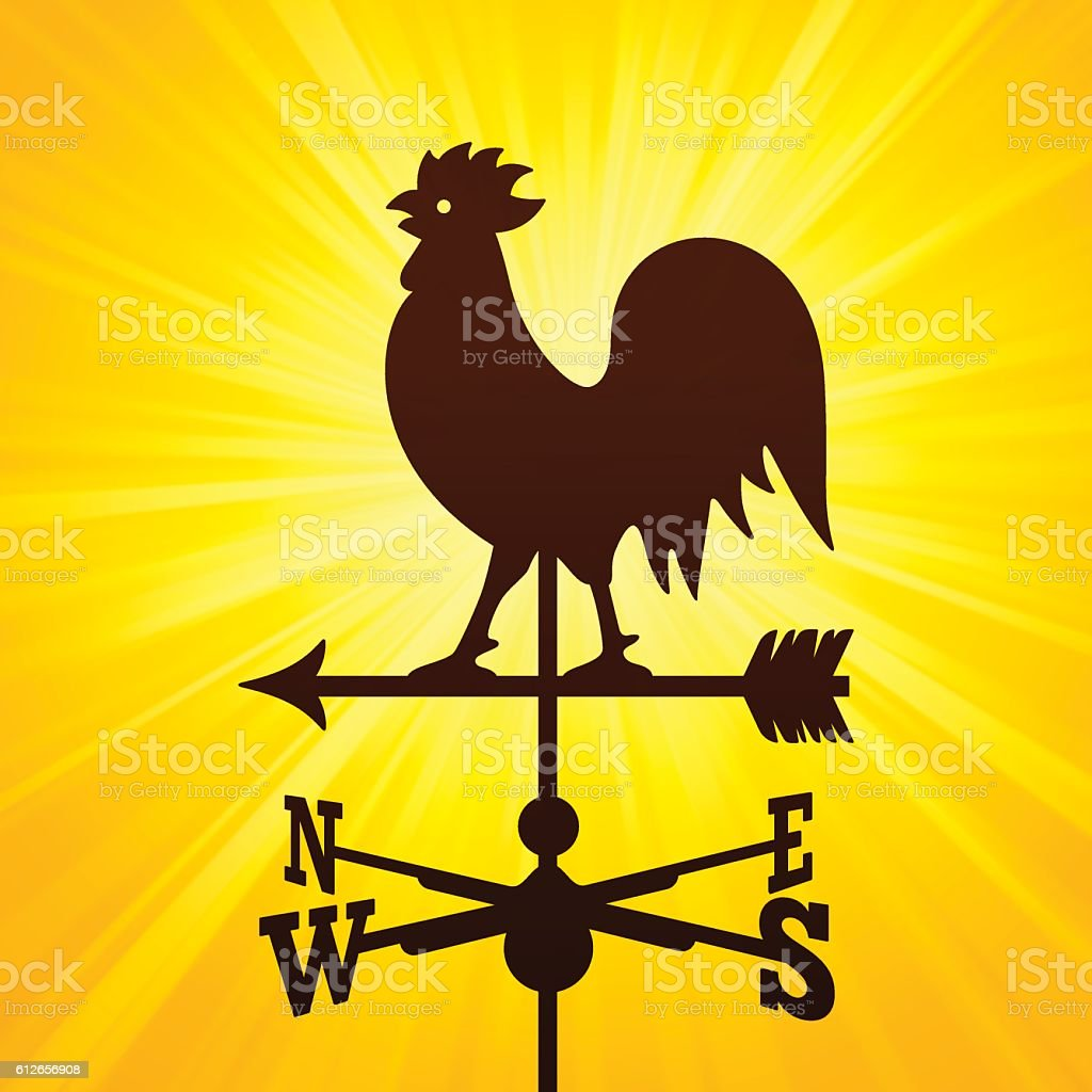 Rooster Weather Vane vector art illustration