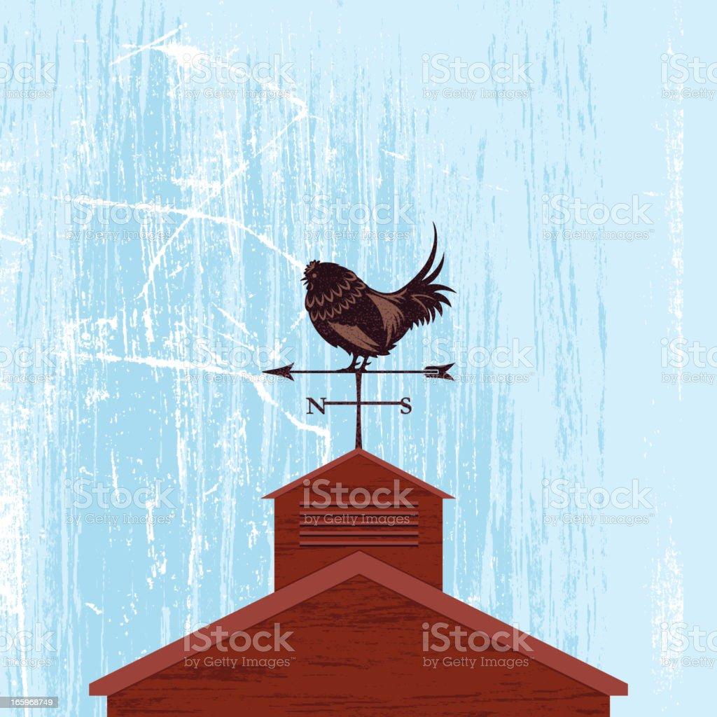 Rooster Weather-Vane Barn Roof Illustration vector art illustration