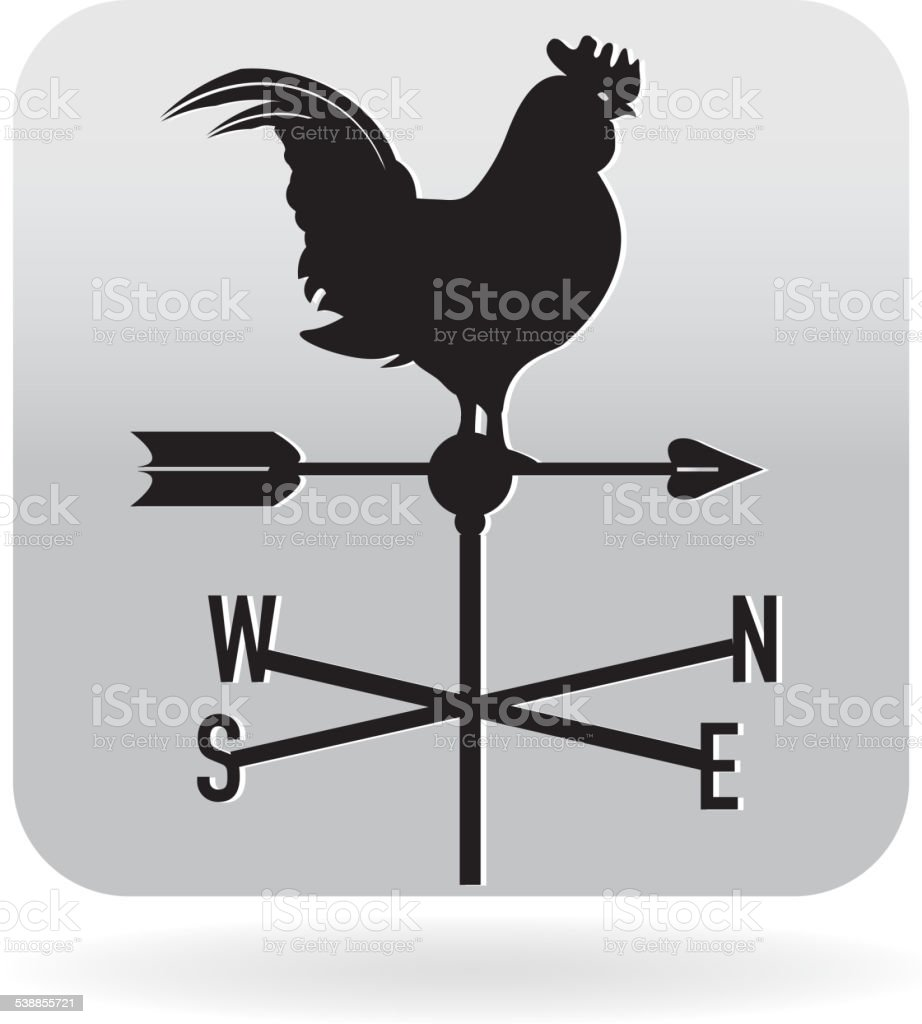 Rooster weathervane icon vector art illustration