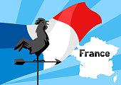 Rooster weathervane on flag of France. Patriotic illustration.