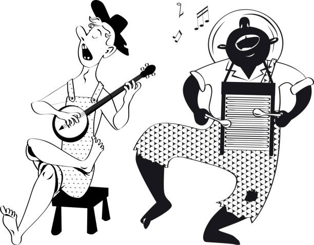 root music enthusiasts - clip art of a black and white barn stock illustrations, clip art, cartoons, & icons