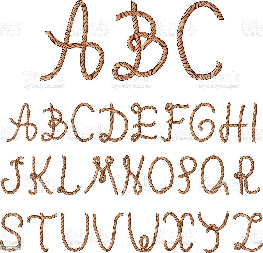 rope alphabet 03.1 vector art illustration