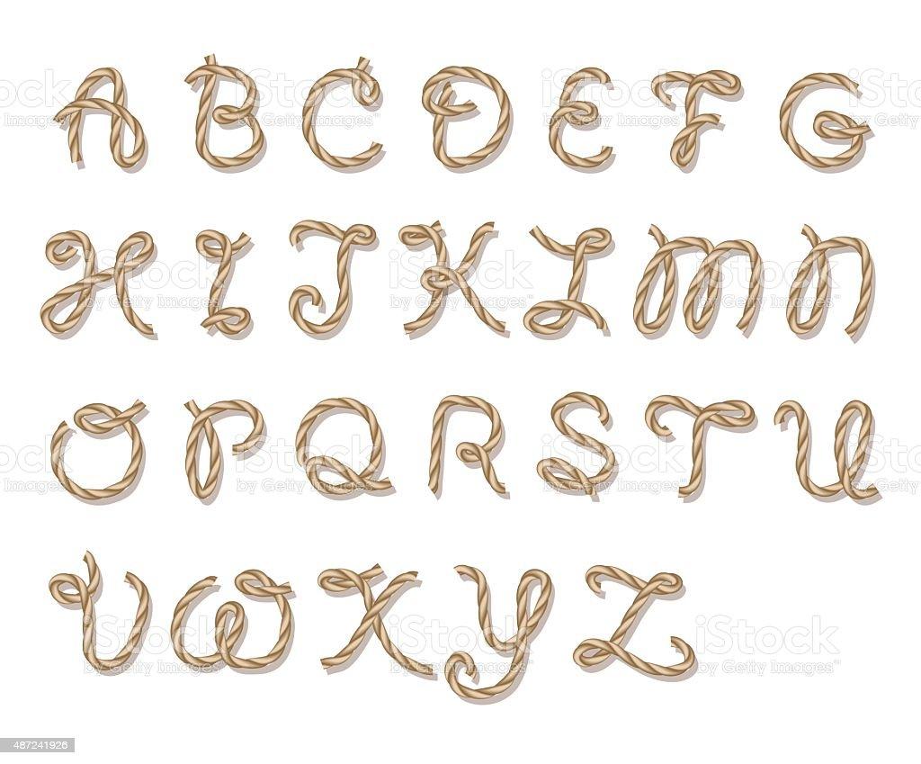 Rope alphabet vector art illustration