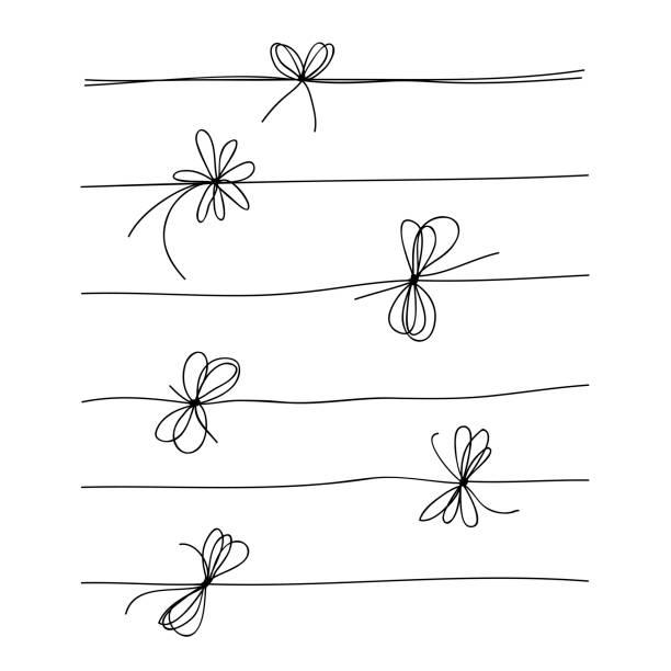 stockillustraties, clipart, cartoons en iconen met rope bow collectie geïsoleerd op witte achtergrond. hand getrokken vector illustratie set - touw