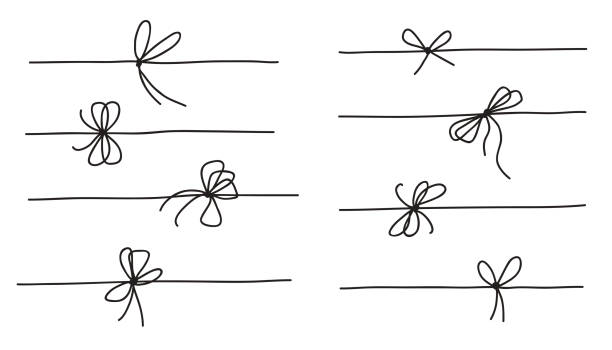Rope bow collection isolated on white background. Hand drawn vector illustration set Rope bow collection isolated on white background. Hand drawn vector illustration set knotted wood stock illustrations