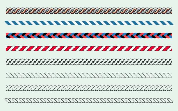 stockillustraties, clipart, cartoons en iconen met borstelset touw en lijnen - touw