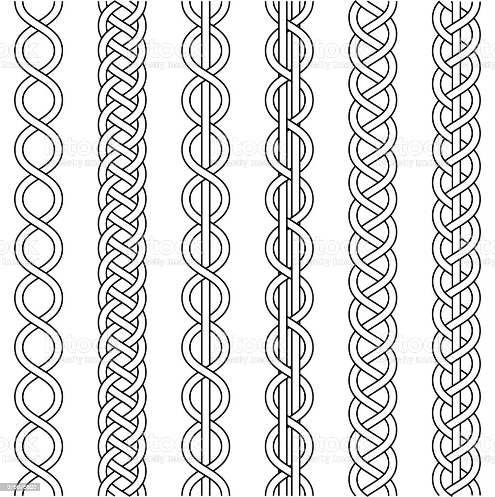 Rope cable weaving, knot twisted braid, macrame crochet weaving, braid knot, vector knitted braided pattern intersecting strands wicker, set vector art illustration