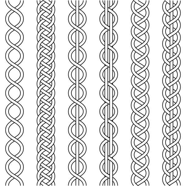케이블 직물 밧줄, 매듭 트위스트 머리, 마크 라 메 크로 셰 뜨개질 직물, 끈 매듭, 벡터 니트 꼰된 패턴 교차 가닥 고리 버들 세공, 세트 - 엮다 stock illustrations