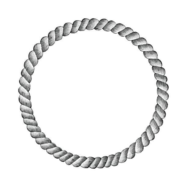 rope circle hand drawing vintage clip art - граттаж stock illustrations