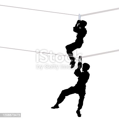 Rope crossing. The black silhouette of a young man climber tourist hanging on carabiners to a rope, two positions hang on a string. Isolated over white background. Vector illustration.