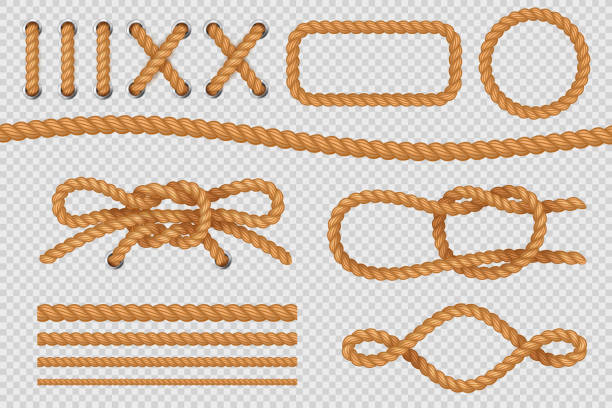 Rope elements. Marine cord borders, nautical ropes with knot, old sailing loop. Vector set Rope elements. Marine cord borders, nautical ropes with knot, old sailing loop. Vector isolated set knotted wood stock illustrations