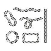 Rope for decoration and covering, nautical twisted rope knots. Round and square rope frames, cord borders. Decoration elements. Vector illustration.
